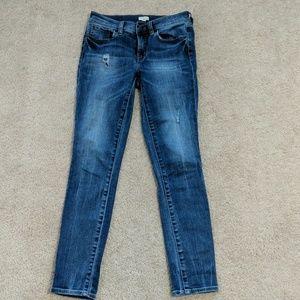 J Crew stretch skinny jeans with distressing